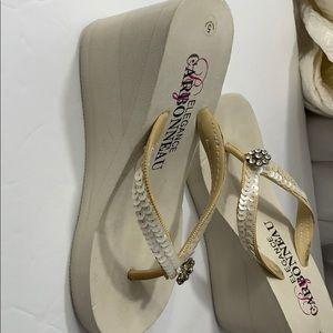 Carbonneau 5 wedge sandals cream
